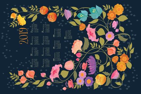 Enchanted Garden 2019 Calendar Tea Towel fabric by ceciliamok on Spoonflower - custom fabric