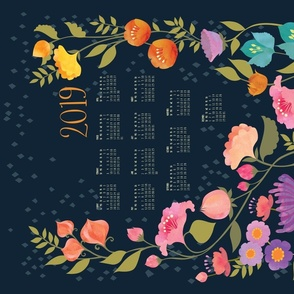Enchanted Garden 2019 Calendar Tea Towel