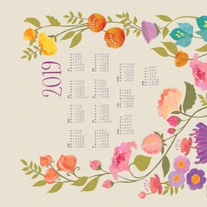 Enchanted Garden 2019 Calendar Tea Towel {Linen}