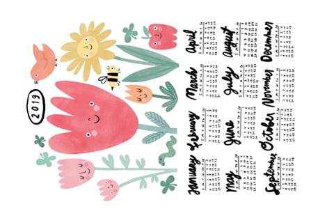 Garden Pals 2019 Calendar Tea Towel fabric by anda on Spoonflower - custom fabric