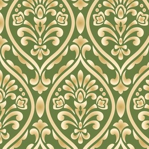 Gold and Green Damask