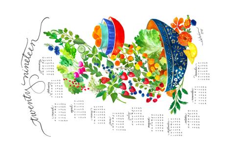 2019 farmer's market tea towel calendar fabric by lisaekström on Spoonflower - custom fabric
