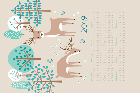 deer calendar 2019 fabric by heleenvanbuul on Spoonflower - custom fabric