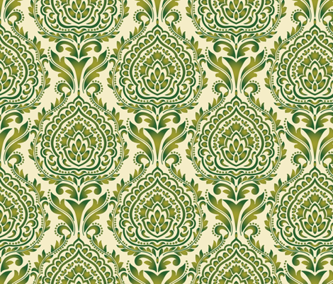 Damask Palmette fabric by barbarapixton on Spoonflower - custom fabric