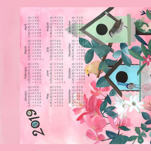 2019 Calendar - Birdhouses Tea towel design