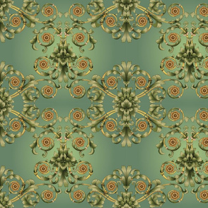 European Scroll Design Damask Sage and Brown