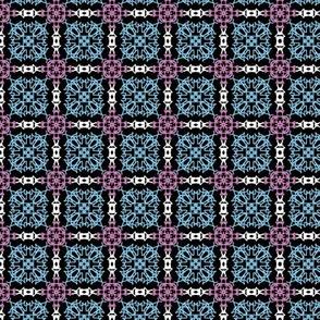 blue black white tile