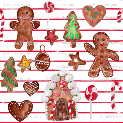 """8"""" Gingerbread Christmas // Red and White Stripes"""