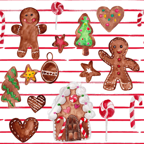 """8"""" Gingerbread Christmas // Red and White Stripes fabric by hipkiddesigns on Spoonflower - custom fabric"""