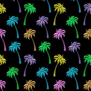 Multi Coconut Palms on Black Small