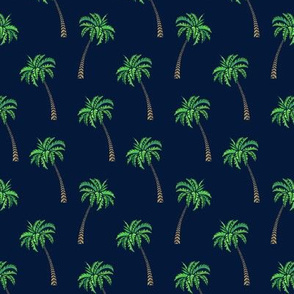 Coconut Palms on Navy Small