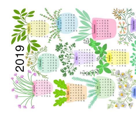 2019 HERB CALENDAR-ed fabric by nadinewestcott on Spoonflower - custom fabric