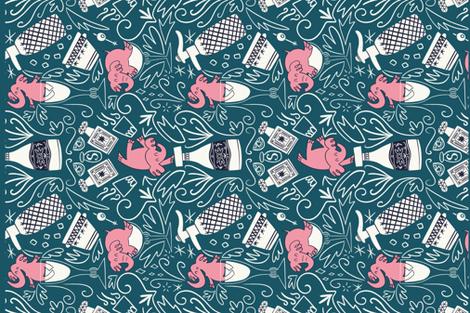 Pink elephants tea towel fabric by natalia_gonzalez on Spoonflower - custom fabric