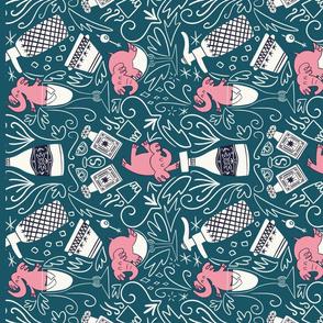 Pink elephants tea towel