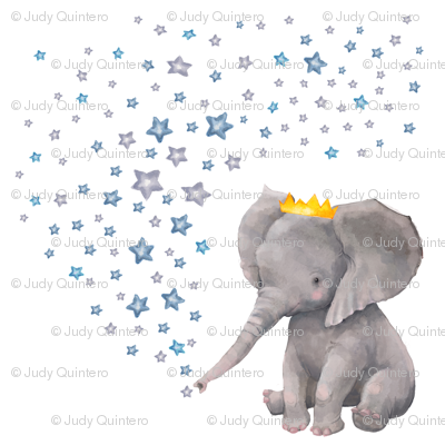 """6"""" Baby Boy Elephant with Stars Mix and Match"""