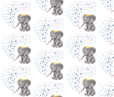 """6"""" Baby Boy Elephant with Stars Mix and Match fabric by shopcabin on Spoonflower - custom fabric"""