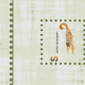S is for scorpion tea towel sage green