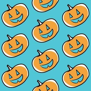 Orange Pumpkin on Teal