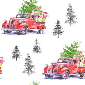 """8"""" Christmas Road Trip w/ Tree and Presents // White"""
