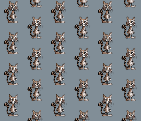 Raccoon on blue fabric by mulberry_tree on Spoonflower - custom fabric