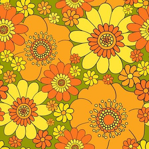 best FLOWER BUNCH REPEAT TILE orange with green base