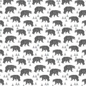 MINI - geo bear // charcoal light grey bear triangles geometric kids boys nursery