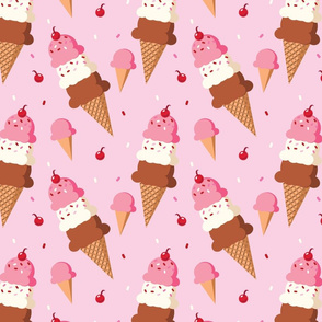 Triple Scoop IceCream - Pink