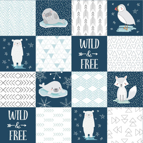North Pole Wholecloth Cheater Quilt, Polar Bear, Walrus, Arctic Fox, Seal, Puffin, Wild and Free