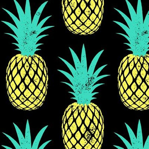 (large scale) pineapples - teal and yellow on black