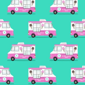 ice cream trucks  (pink and teal)