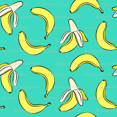 bananas on teal