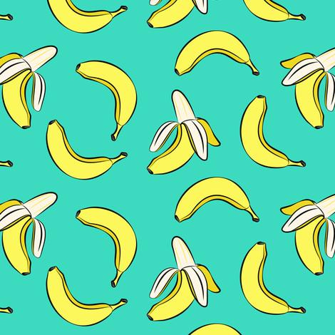 bananas on teal fabric by littlearrowdesign on Spoonflower - custom fabric