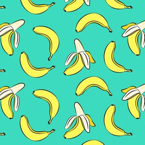 bananas on teal