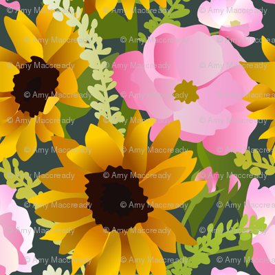 Sunflowers and Pink Roses
