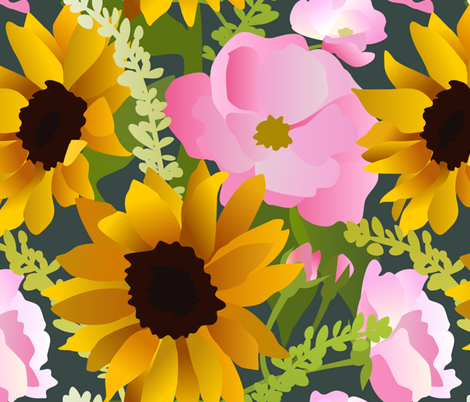 Sunflowers and Pink Roses fabric by amy_maccready on Spoonflower - custom fabric