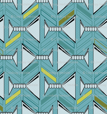 retro martinis tea towel in deep aqua and olive with pattern side