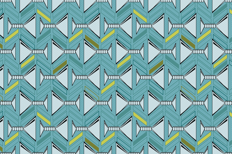 retro martinis tea towel in deep aqua and olive with pattern side fabric by groundnut_apiary on Spoonflower - custom fabric