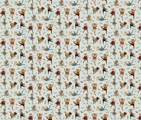 park life fox yoga {small} fabric by katherine_quinn on Spoonflower - custom fabric