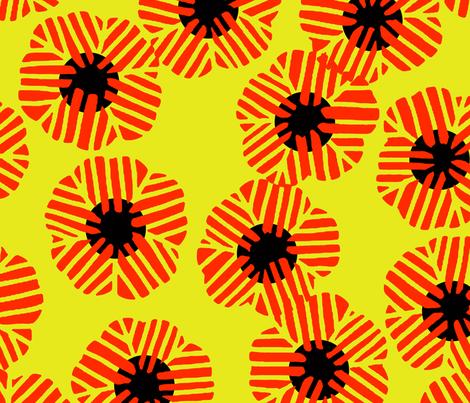 batik_flower_random_vermilion_yellow fabric by tacoinou on Spoonflower - custom fabric