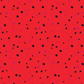 Crazy Confetti Dots on Bright Red