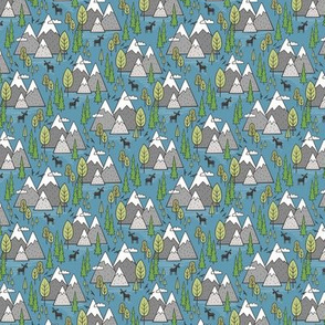 Mountains Forest Woodland Trees & Moose on Dark Blue Smaller Tiny 1-1,5 inch