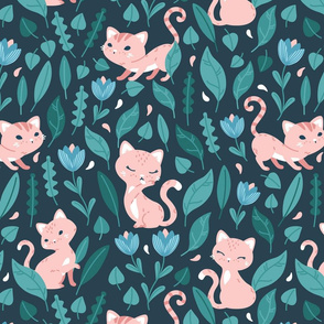 Oh Hello Cats - dark green blue coral