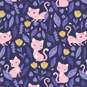 Oh Hello Cats - violet purple pink