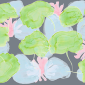 water lilies ink - pink, blue and green