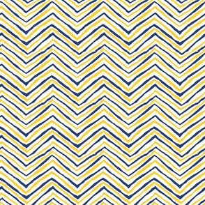 navy and gold zig zag
