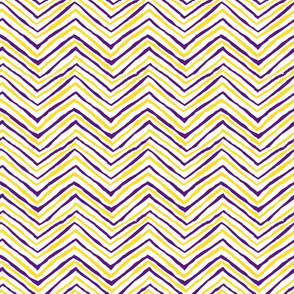 purple yellow chevron zig zag LSU tigers fabric