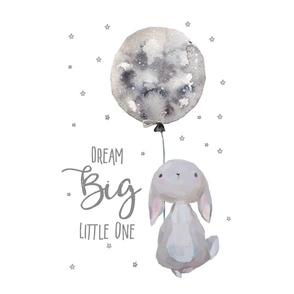 "21""x14"" dream big little Bunny _ 2 per 1 yard of 42"" wide fabric"