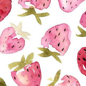 Large scale watercolor strawberries