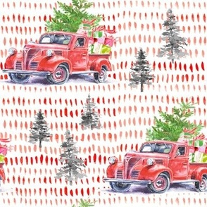 "8"" Christmas Road Trip with Tree and Presents // Abstract Red Lines"