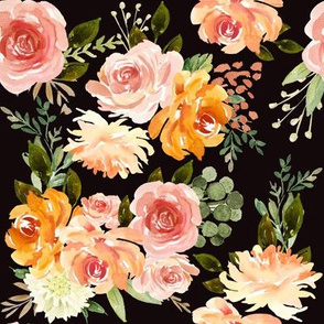 "8"" Fall Blossom Florals // Black"